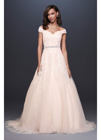 Off-the-Shoulder Applique Ball Gown Wedding Dress - A perfectly classic look for the big day,