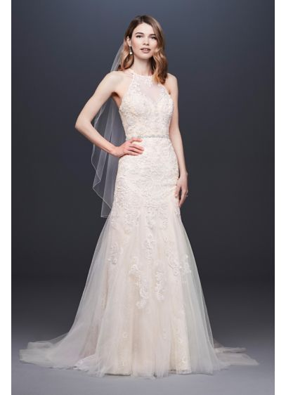 High Neck Beaded Lace Mermaid Wedding Dress - A high illusion neckline caps this beaded lace