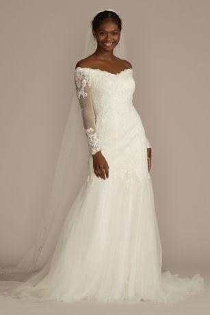 long sleeve offtheshoulder trumpet wedding dress david