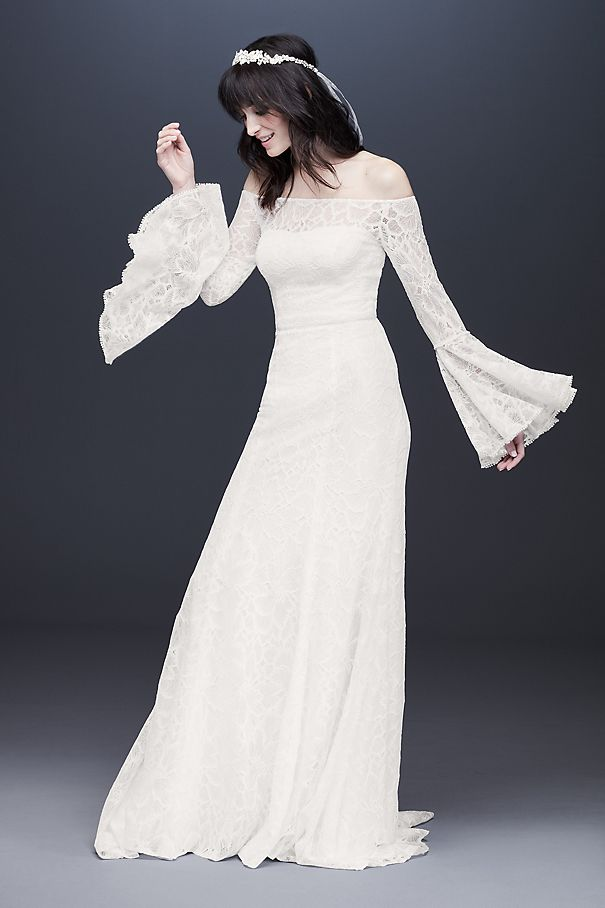 Bell Sleeve Off-the-Shoulder Lace Wedding Dress