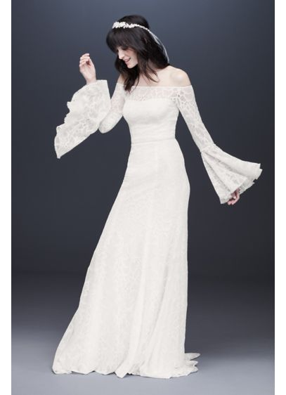 Bell Sleeve Off-the-Shoulder Lace Wedding Dress - Allover lace with a bold floral pattern and