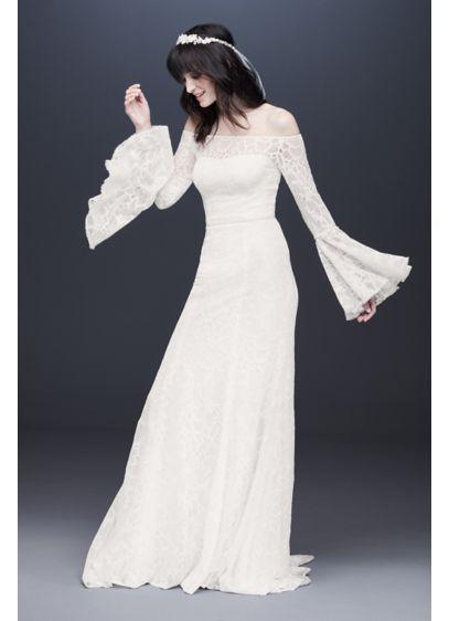 631f19346c81 Bell Sleeve Off-the-Shoulder Lace Wedding Dress | David's Bridal