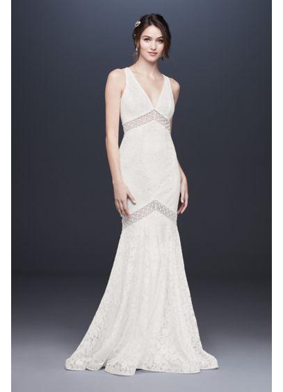 5626643f5879 V-Neck Lace Illusion Mermaid Wedding Dress | David's Bridal