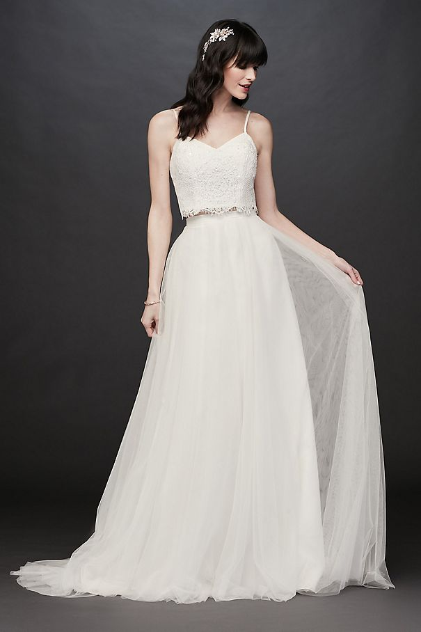 Lace and Tulle Two-Piece A-Line Wedding Dress