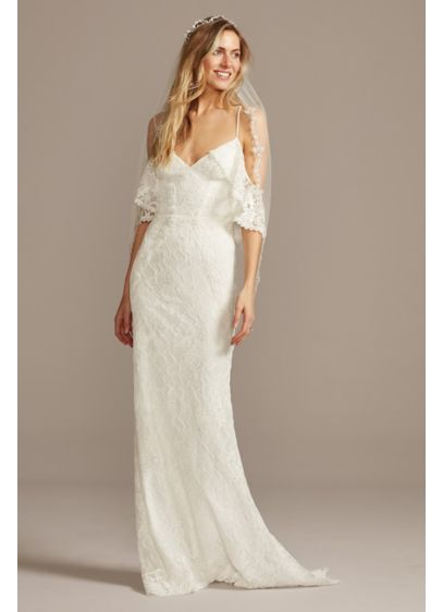 Cold Shoulder Wedding Dress with Ruffled Sleeves - Unique and easygoing, this cascading lace sheath wedding