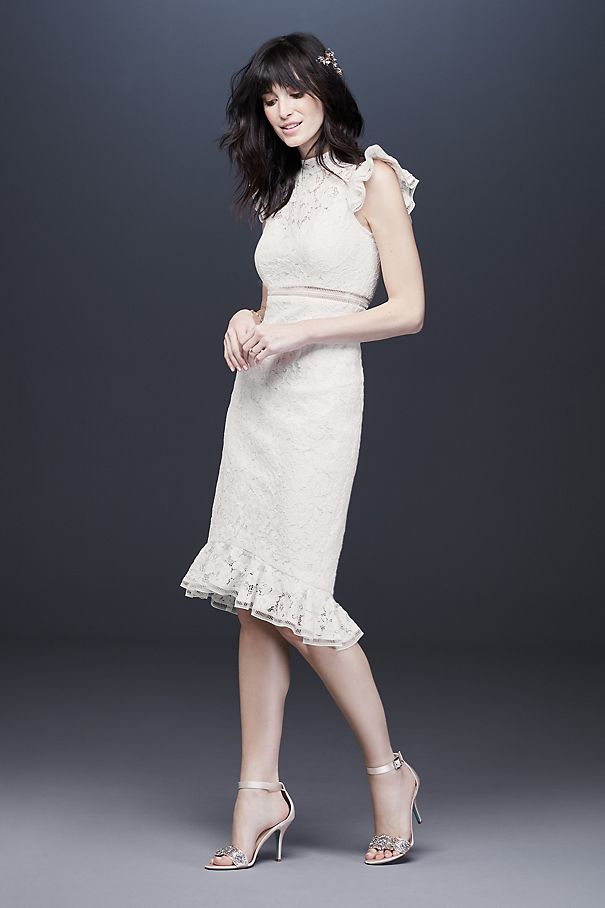 High Neck Ruffle Hem Lace Dress with Cap Sleeves