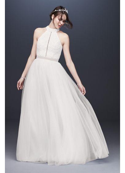 High Neck Illusion Tulle A Line Wedding Dress David S Bridal