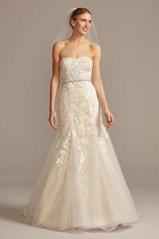 Floral Beaded Lace and Tulle Mermaid Wedding Dress
