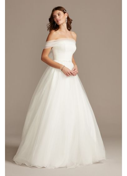 Off the Shoulder Pleated Tulle Wedding Dress - This enchanting wedding dress takes a classic silhouette