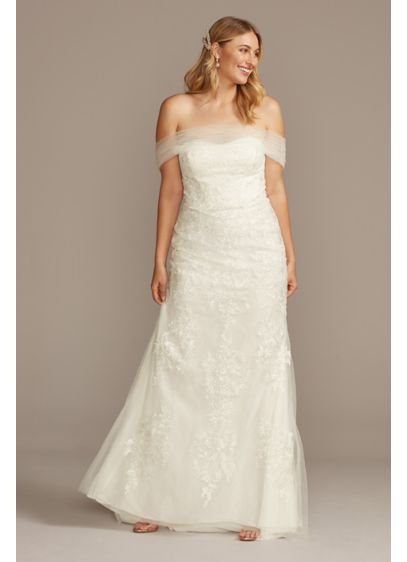 Tulle and Floral Off-the-Shoulder Wedding Dress - Delicate tulle swags drape to create an elegant