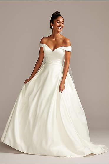 Off the Shoulder Satin Ball Gown Wedding Dress