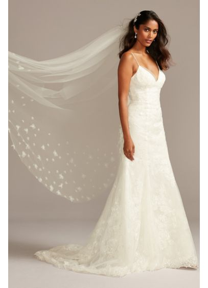 Floral Lace Applique Spaghetti-Strap Wedding Dress - This elegant trumpet wedding dress exudes a hazy