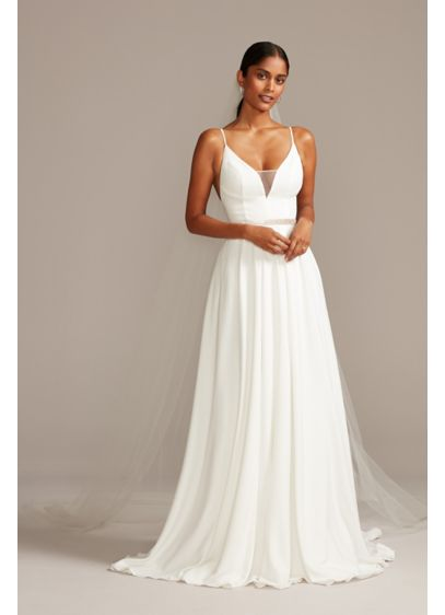 Illusion Deep-V Spaghetti Strap Wedding Dress - Made from luxe yet comfortable stretch crepe, this