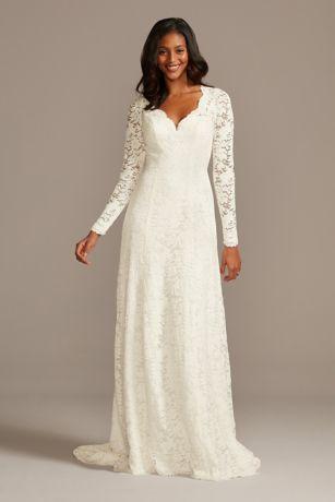 Scalloped Lace Long Sleeve Open Back Wedding Dress David S Bridal