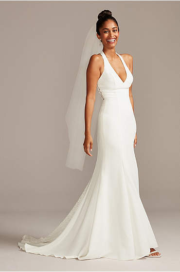 Sheer Back Crepe Wedding Dress with Lace Train