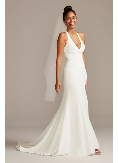 Sheer Back Crepe Wedding Dress with Lace Train - A sleek plunging neckline begins the ultra-feminine, body-hugging