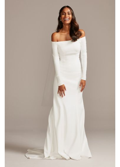 Off The Shoulder Buttoned Back Crepe Wedding Dress David S Bridal