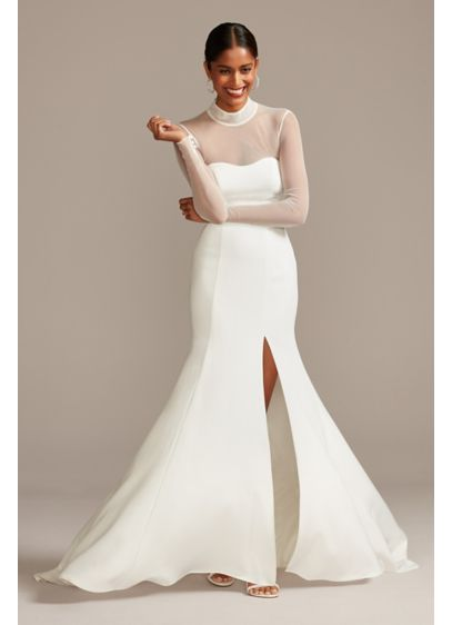 Illusion Long Sleeve High Neck Crepe Wedding Dress - Although unembellished, this stretch crepe wedding dress is