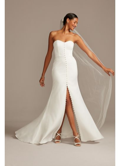 Button Front Strapless Stretch Crepe Wedding Dress - Give modern edge to a classic look in