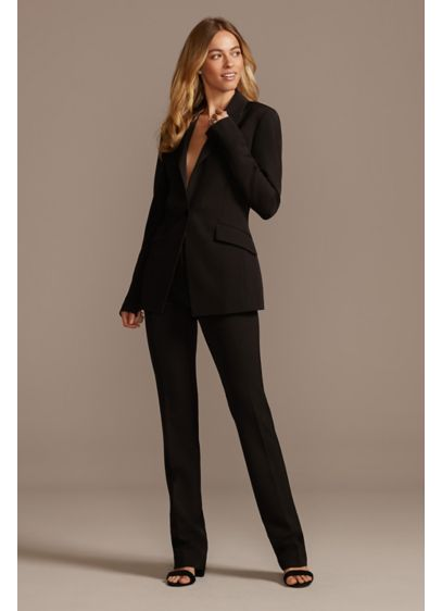 Single Button Relaxed Fit Suit Jacket - This sophisticated relaxed fit suit jacket is detailed
