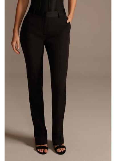 Relaxed Leg Suit Pants with Satin Waistband - Featuring a satin waistband and a relaxed leg