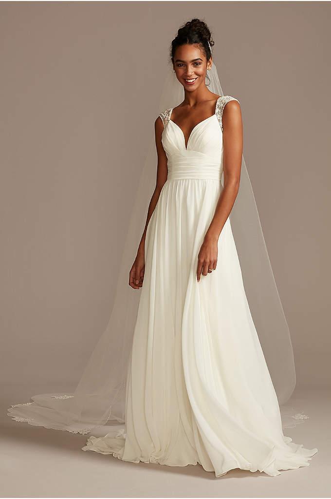 Beaded Keyhole Back Chiffon Wedding Dress