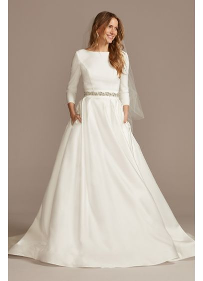 3/4 Sleeve Low Back Crepe and Satin Wedding - Modern yet classic, this unadorned wedding dress is