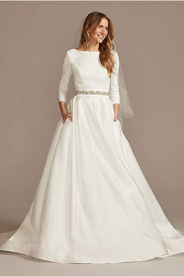 Low Back Mid-Sleeve Crepe and Satin Wedding Dress