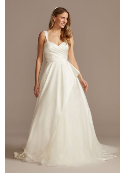 Pleated Satin Asymmetric Tulle Hem Wedding Dress - This beautiful satin A-line wedding dress features a