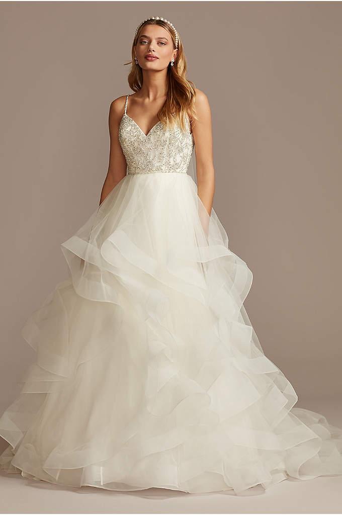 Beaded Bodice with Tiered Skirt Wedding Dress