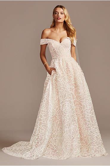 Floral Caviar Bead Off the Shoulder Wedding Dress