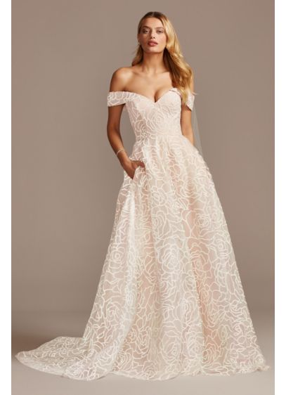 Floral Caviar Bead Off the Shoulder Wedding Dress - This off-the-shoulder wedding dress is the picture of