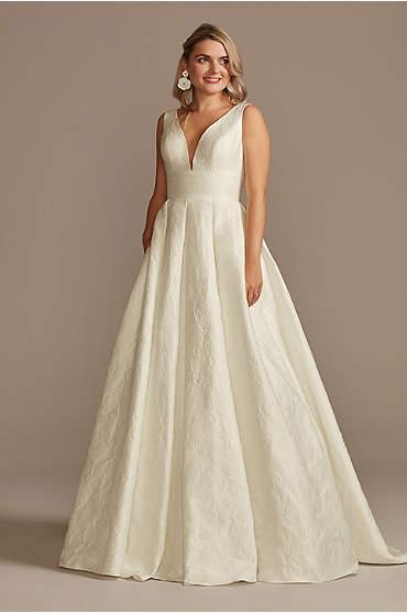 Floral Jacquard V-Neck Wedding Dress
