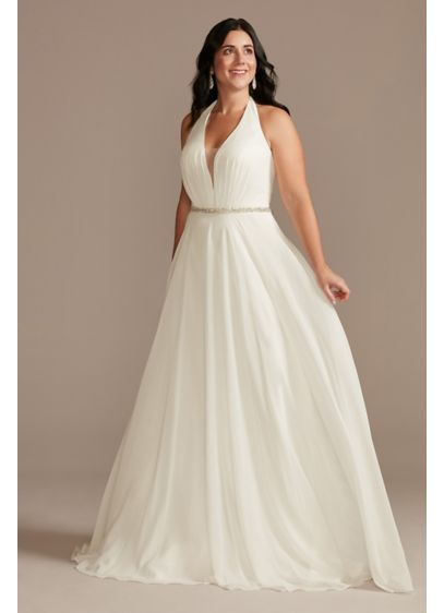 Chiffon Halter Plunge Beaded Waist Wedding Dress - With its illusion plunge neckline, this chiffon A-line