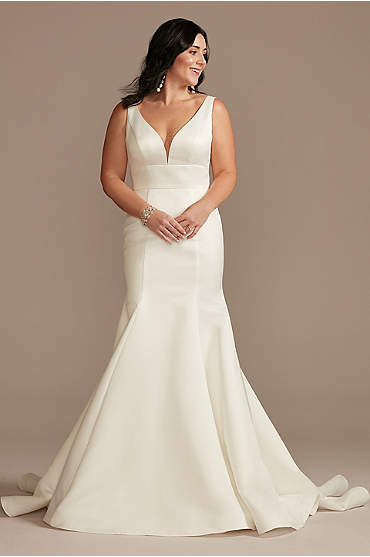 Plunge Mermaid Satin Wedding Dress with Buttons