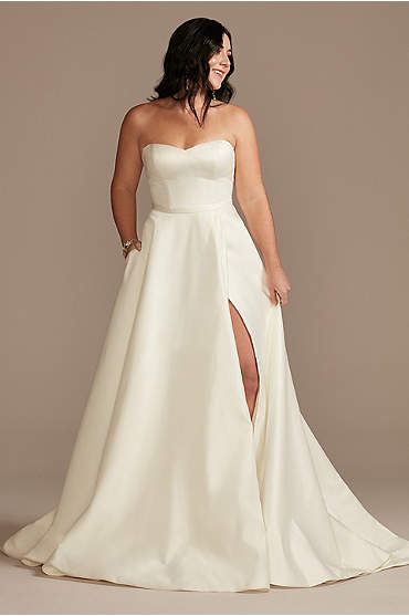 Strapless Satin Wedding Dress with Skirt Slit
