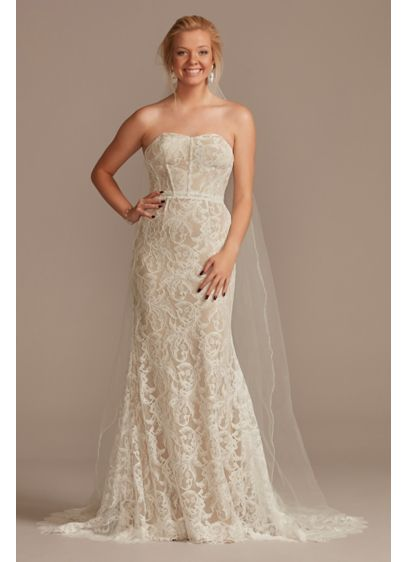Detachable Sleeves Lace Sheath Wedding Dress - An easy, stunning way to have two bridal
