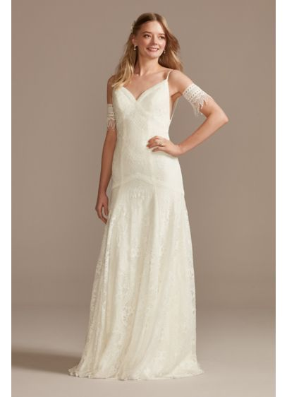 Low Back Lace Wedding Dress with Fringe Swags - Effortless and ethereal, this lace spaghetti-strap wedding dress