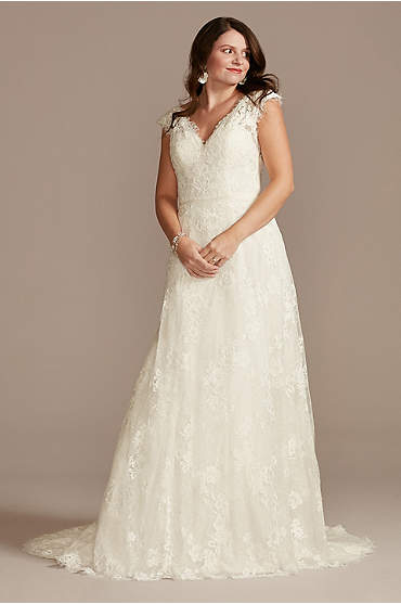 Illusion Cap Sleeve Lace Wedding Dress