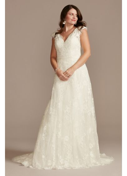 Illusion Cap Sleeve Lace Wedding Dress - Crafted from romantic Chantilly lace, this simple wedding