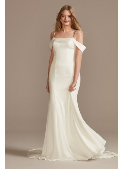 Off Shoulder Cowl Neck Crepe Satin Wedding Dress - Draped swags form the off the shoulder cowl