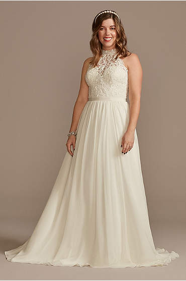 High Neck Illusion Lace and Chiffon Wedding Dress