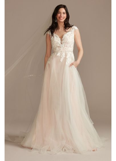 Appliqued Cap Sleeve Tulle Ball Gown Wedding Dress - Beaded lace applique adorns the bodice of this