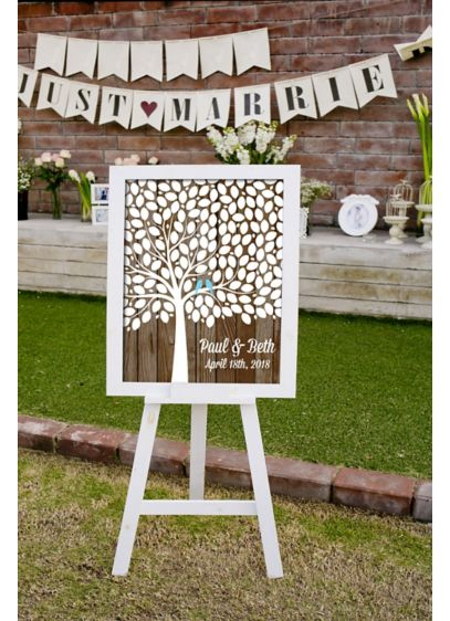 Personalized Lovebirds Tree Signature Guest Book - Wedding Gifts & Decorations