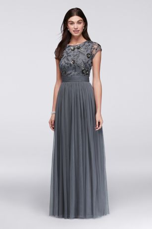 Beaded Cap Sleeve Dress With Tulle Skirt David S Bridal