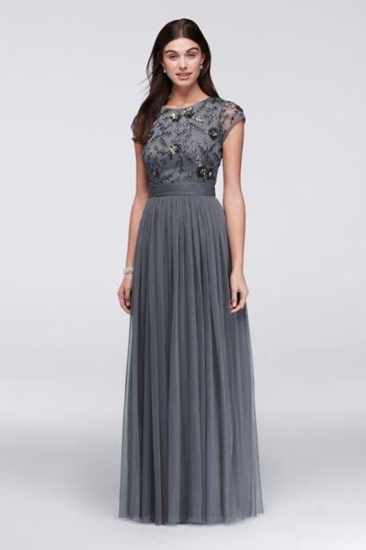 Beaded Cap Sleeve Dress With Tulle Skirt Davids Bridal