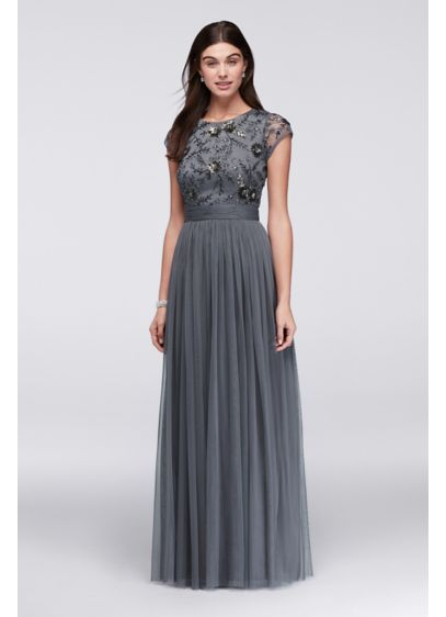 select for original another chance hot-selling real Beaded Cap Sleeve Dress with Tulle Skirt
