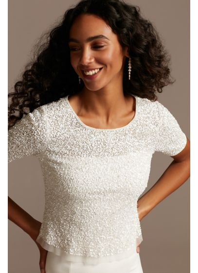 Sequin Beaded Illusion Wedding Separates Top - Like your favorite T-shirt all dressed up. This