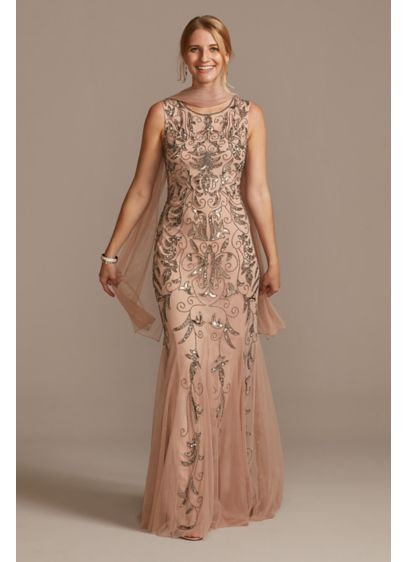 Beaded Sequin Scrolls Embellished Dress with Shawl - Metallic sequins outlined with intricate beadwork form beautiful