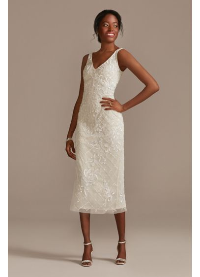 Beaded Sheath V-Neck Midi Dress with Low Back - This unique wedding dress comes in a midi